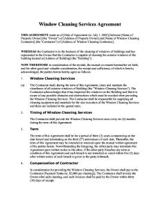 Window Cleaning Services Agreement